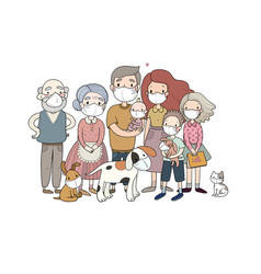 Family and animals in white medical face mask for vector