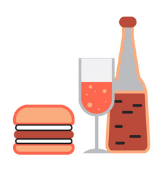 fast food alcohol icon cartoon style vector image