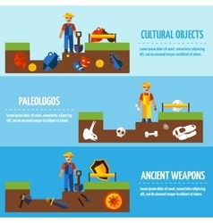 Flat Color Archeology Banners Set vector