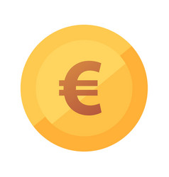 flat golden icon with glow euro coin vector image