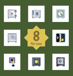 Flat icon strongbox set of protection coins vector