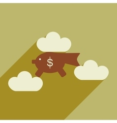 Flat with shadow icon piggy bank in the clouds vector image
