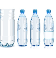 Four Water Plastic Bottles with Generic Label vector