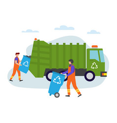 garbage man at work lorry for urban waste removal vector image