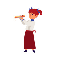 Girl in a chef uniform holds a piece pizza flat vector