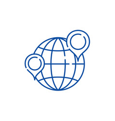 globe with pointers line icon concept globe with vector image