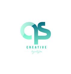 green gradient pastel modern qs q s alphabet vector image