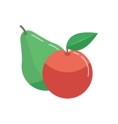 green pear and red apple vector image