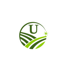 green project solution center initial u vector image