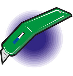 green stationery knife eps10 vector image