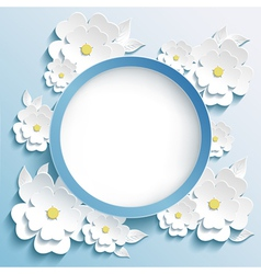 Greeting or invitation card frame with 3d sakura vector image
