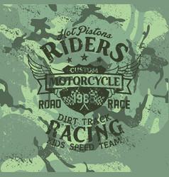 grunge custom motorcycle kid racing team vector image