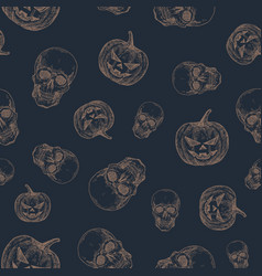 hand drawn scull and evil pumpkin seamless vector image