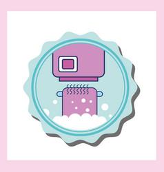 hand dryer and cartoon bathroom towel vector image
