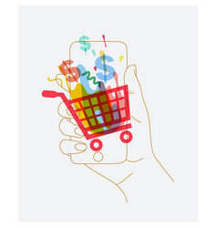 hand phone online shopping vector image