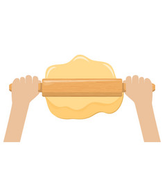hand rolling dough with a rolling pin vector image