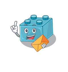 Happy face lego brick toys mascot design vector