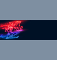 Happy new year neon glowing banner with text space vector
