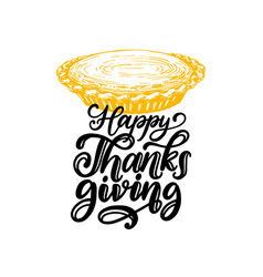 happy thanksgiving hand lettering on white vector image