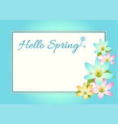 hello spring card banner or poster background vector image