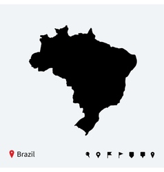 High detailed map of Brazil with navigation pins vector