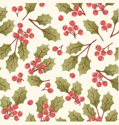 Holly berry seamless pattern vector