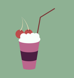 Icon in flat design for restaurant milkshake with vector