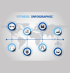 infographic design with fitness icons vector image