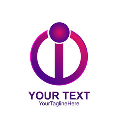 Initial letter i logo template colored purple vector