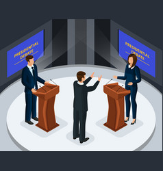 Isometric presidential debates concept vector
