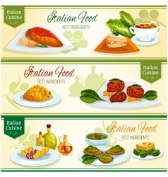 Italian cuisine lunch with dessert banner set vector