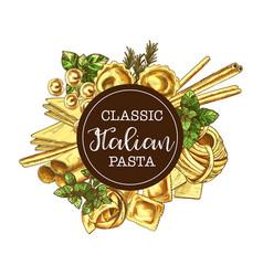 italian pasta round label sketch vector image