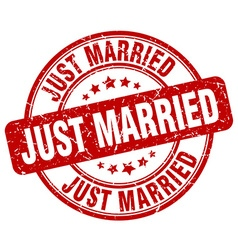 just married red grunge round vintage rubber stamp vector image