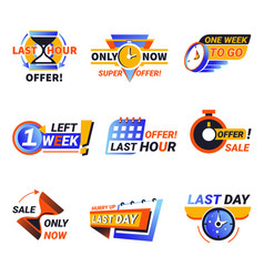 last day or week offer isolated icons sales vector image