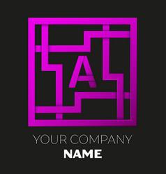 Letter a symbol in colorful square maze vector
