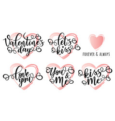 Lettering set for valentines day vector