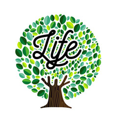 Life tree with green leaves concept vector
