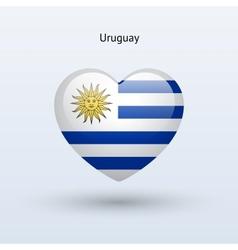 Love Uruguay symbol Heart flag icon vector