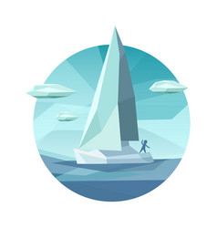 low polygon sailing ship icon vector image