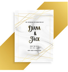 Luxury wedding invitation card design with marble vector