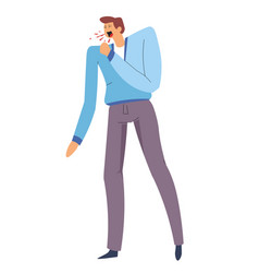 Man with sore throat strong cough pneumonia or vector