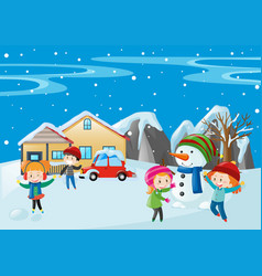 many children playing in the snow vector image