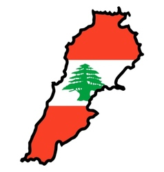 Map in colors of Lebanon vector image