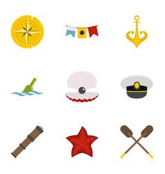 marine icons set flat style vector image