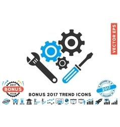 Mechanics Tools Flat Icon With 2017 Bonus Trend vector