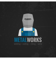 Metalworking icon poster flat vector