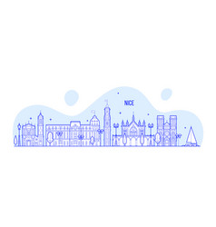 Nice skyline france city buildings vector