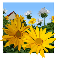 painted yellow chamomile flowers on summer vector image