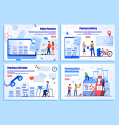 Pharmaceutical industry flat web banners vector