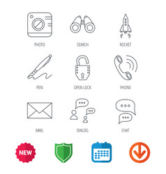 Photo startup rocket and search icons vector